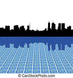 Melbourne Skyline con la perspectiva de texto ilustrado