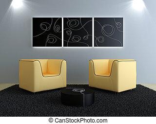 melocotón, interiores, moderno, -, diseño, decoraciones, asientos, negro