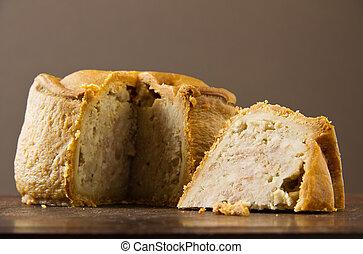 Melton Mowbray pastel de cerdo cortado bajo
