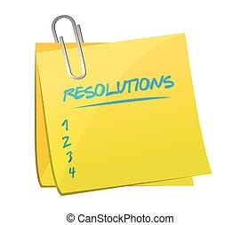 memorándum, lista, resolutions, poste
