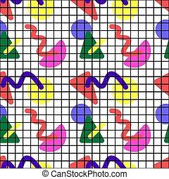memphis, células, patrón, seamless, 80s, formas, geométrico, pattern., simple