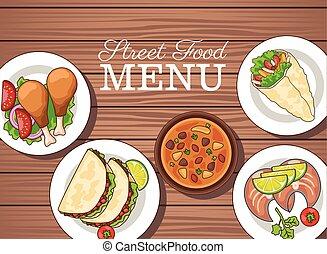 menú, alimento, delicioso, patrón, de madera, rápido, plano de fondo