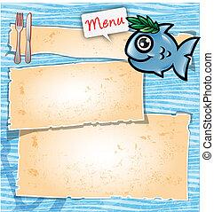 Menú de caricatura de peces