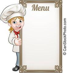 Menú de chef de dibujos animados