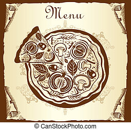 menú de diseño con pizza