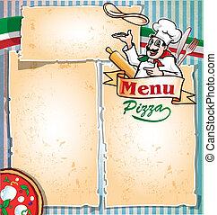 menú de pizza con chef