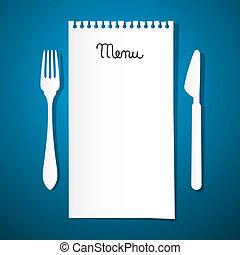 Menú de restaurante de papel con cuchillo y tenedor en fondo azul