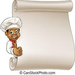 Menú del menú del chef negro de dibujos animados