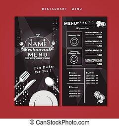 menú, diseño, brillante, restaurante