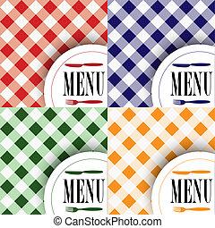 menú, diseños, conjunto, tarjeta