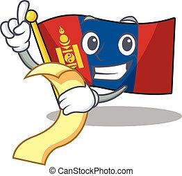 menú, listo, tenencia, carácter, caricatura, mongolia, sirva, rúbrica, bandera