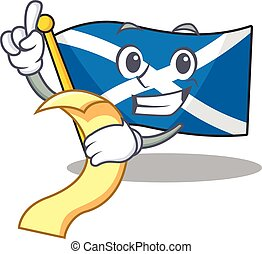 menú, listo, tenencia, carácter, caricatura, sirva, escocia, rúbrica, bandera