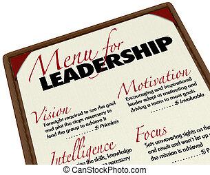 Menú para las cualidades de liderazgo deseables en jefe