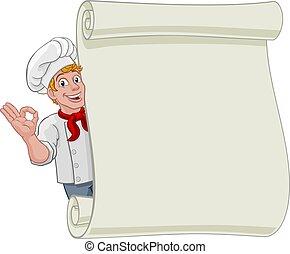 menú, plano de fondo, caricatura, chef, hombre, panadero, señal, cocinero