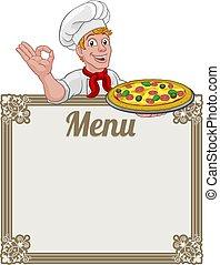 menú, plano de fondo, chef, hombre, pizza, señal, cocinero, caricatura
