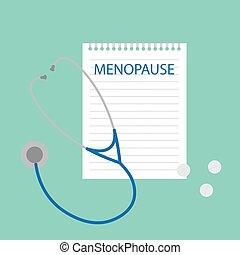 Menopausia escrita en cuaderno