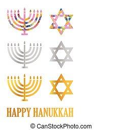 menorah, estrella, hanukkah, david