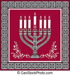 menorah, judío, -, vector, plano de fondo, feriado