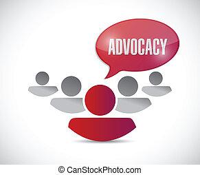mensaje, advocacy, ilustración, equipo