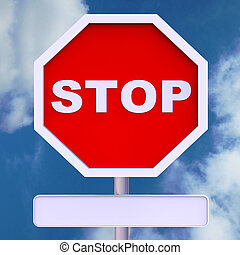 mensaje, blanco, parada, copyspace, señal