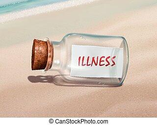 Mensaje de enfermedad en una botella