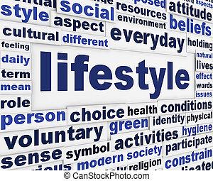 mensaje, estilo de vida, plano de fondo, creativo