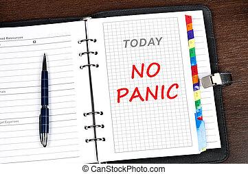mensaje, pánico, no