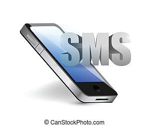 mensaje telefónico, concepto, sms, ilustración