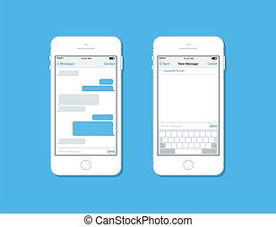 Mensajeando y charlando en la plantilla de vector de celular