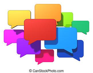 mensajería, concepto, establecimiento de una red, internet, social