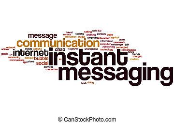 mensajería, palabra, instante, nube