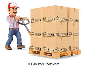 Mensajero 3D empujando un camión con cajas