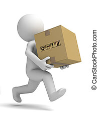 Mensajero y cajas de cartón