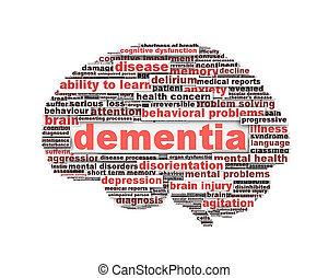 Mensajes de demencia aislados en blanco