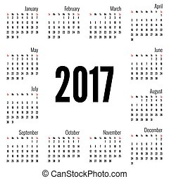 mensualmente, calendario, 2017