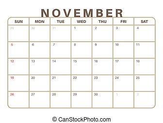 mensualmente, calendario, 2017, noviembre