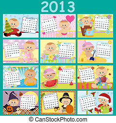 mensualmente, calendario, bebé, 2013