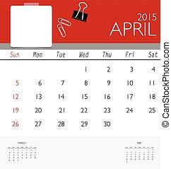mensualmente, calendario, vector, april., plantilla, 2015, calendario, illus