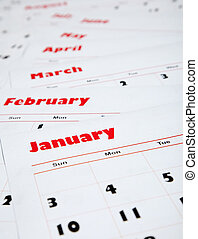 mensualmente, calendarios, pila