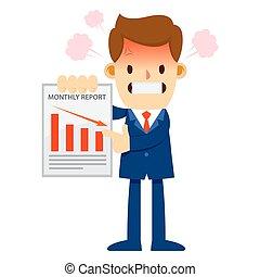 mensualmente, enojado, informe de ventas, hombre de negocios, actuación, declinante