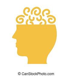 mental, estilo, perfil, salud, confusión, icono, silueta