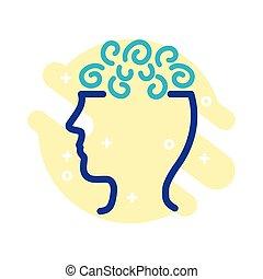 mental, estilo, perfil, salud, línea, confusión, icono