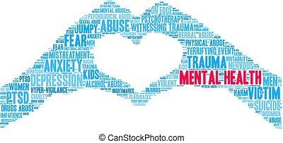 mental, nube, salud, palabra
