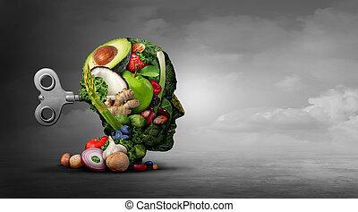 mental, vegetariano, dieta, función