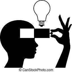 mente, idea, aprender, nuevo, educación, abierto