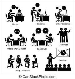 Mentor guía entrenador para ejecutivo de negocios.