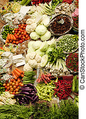 Mercado asiática de verduras frescas