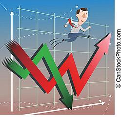 Mercado de valores con hombre de negocios