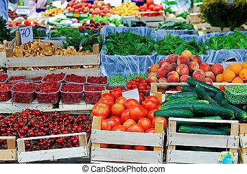 mercado, granjeros, lugar