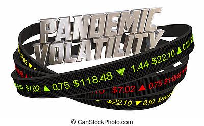 mercado, precios, corazón, volatility, ilustración, acción, pandemia, 3d